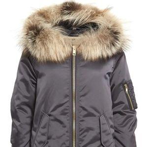 NWT Burberry 'Avonshire' Satin Fox Fur Jacket